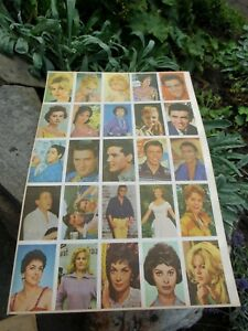 Rare vintage german 25 Trading Card Sheet 1955-1960 ELVIS PRESLEY,Loren,Bardot B