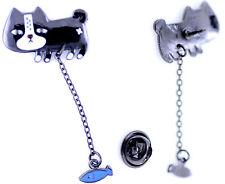 Super cute black enamel cat with hanging fish brooch / pin