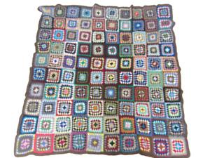 Vintage Retro Handmade Crochet Blanket Throw Large