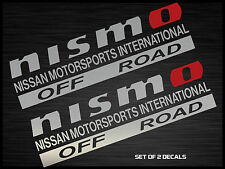 "NISMO OFF ROAD DECAL STICKER SILVER AND RED 12""X3.5"" SET OF 2"