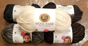 LION BRAND WOOL-EASE THICK & QUICK YARN, 18-12 OZ Each, MULTIPLE COLORS AVAIL