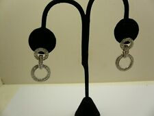 Sterling Silver 925 Rhodium Cubic Zirconia Circle Dangle Earrings