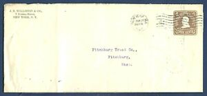 US Stamped Envelope U390 Grant 4¢ Chocolate NYC to Fitchburg, Mass. 1904