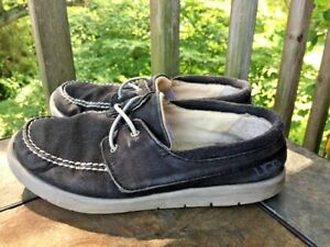 UGG AUSTRALIA Canvas Charcoal Gray Casual Loafers Boys Girls Shoes Sz 1 👣b3