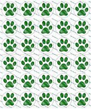 """30 Precut 1"""" Green Paw Prints Bottle cap Image Set 1"""