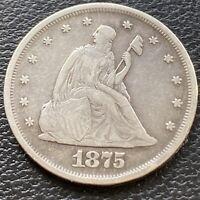 1875 Twenty Cent Piece 20c P Philadelphia RARE Silver High Grade XF + #29489