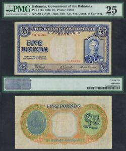 1936 BAHAMAS 5 POUNDS A/1 018496 P-12a PMG 25> > > > > > >KING GEORGE VI SEAL NR