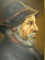 Oil Painting Frame Unsigned 20.5 Inches Portrait Man Hat Beard Vintage Circa 80s