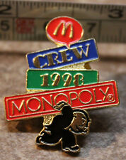 McDonalds Monopoly Crew 1998 Pennybags Employee Collectible Pinback Pin Button