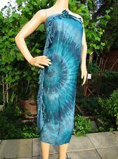 Wandbehang Sarong Pareo Batik blau türkis Wickelrock Tuch Schal Charito Arte