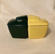 Vintage Condiment Set Retro Art Deco Green Yellow Franciscan Pottery USA Atomic