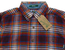 Men's WOOLRICH Maroon Blue Colors Plaid Flannel Cotton Shirt XL X-Large NWT NEW