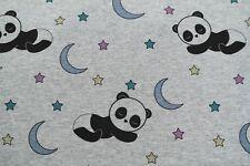 20,90€/m Sweat Sommersweat  Lichteffekt Farbwechsel Panda Sterne grau meliert