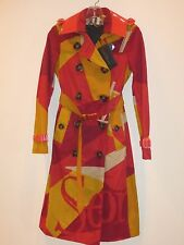 BURBERRY PRORSUM NWT WOMEN'S POPPY ORANGE TRENCH COAT SIZE 36 MADE IN ITALY