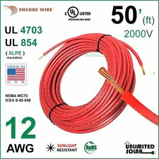 50FT - 12 AWG Encore Solar PV Wire 2000V Cable UL 4703 Copper, USA / RED