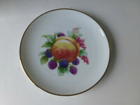 """fruit desert plate made in West Germany 6 3/4"""" gold trim peach berries grape"""