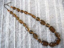 VINTAGE FACETED DEEP AMBER COLOR MULTI-SIZE, SHAPE PLASTIC CRYSTAL BEAD NECKLACE