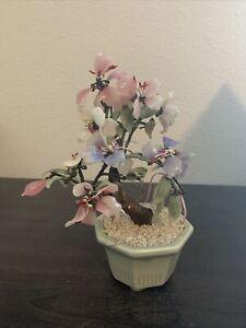 Vintage Faux Jade Bonsai Plant with Pink flowers Glass Art Green Celadon pot