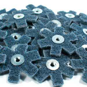 """25pc 2"""" Surface Conditioning Star Abrasive Disc -Blue Fine Grade"""