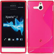 Coque en Silicone Sony Xperia U - S-Style rose chaud + films de protection