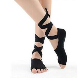 Ladies Toeless Gym Yoga Pilates Barre Grip Socks Non-Slip Skid Half-toe Socks YW