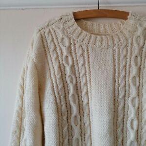 Vintage Adults Cream Wool Aran Hand Knit Fisherman Pullover Jumper M L