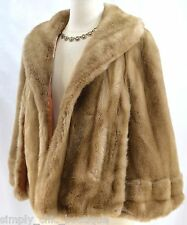 TISSAVEL France Genuine Faux Fur Cape Car Coat Cloak jacket shawl wrap S M L VTG