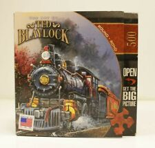 "The Art of Ted Blalock 500 piece Round Puzzle Trains ""Rolling Through"""