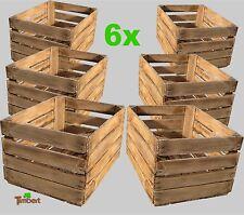 6x Vieux Flamboyant cageot à fruits boîtes de pommes Caisse à vin boîtes en bois