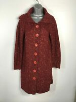 WOMENS BHS BURNT ORANGE KNITTED LONG WARM BUTTON UP CARDIGAN JUMPER SIZE UK 10