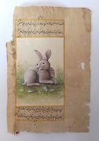 Beautiful Tiny Rabbit Handmade Miniature Painting On Old Paper