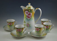 VINTAGE JAPAN PORCELAIN CHOCOLATE POT -CUPS AND SAUCERS -CHERRY BLOSSOM