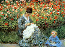 Oil painting Claude Monet - Camille Monet with a child with spring flowers ART