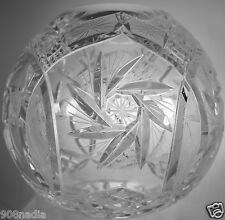 VINTAGE CUT GLASS OR CRYSTAL ROUND BOWL/VASE PINWHEEL STARBURST