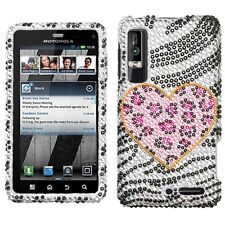 For Motorola Droid 3 Crystal Diamond Bling Hard Case Phone Cover Playful Leopard