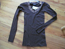 Women's / Juniors Anxiety Brown Long Sleeve Top Size S NWT