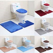 NonSlip Soft Bath Pedestal Mat and Toilet Carpet Bathroom Floor Washable Rug
