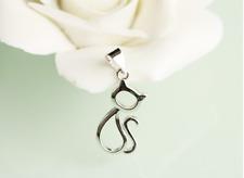 Elegant 925 Sterling Silver Super Adorable *Kitten* Cat Pendant Necklace