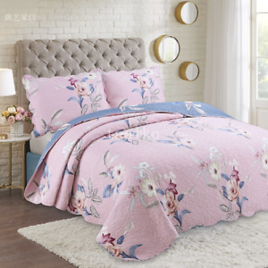 3PCS Cottage Floral Printed Cotton Quilted bed cover Bedspread Set Pillowcase SZ