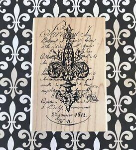 Fleur de Lis Script Collage Wood Mounted Rubber Stamp French Motif Lily Symbol