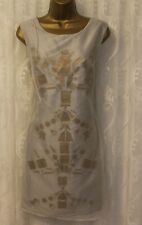 Asos Mesh Overlay Tribal Metal Embellished Wedding Party Dress Grey 12 40