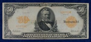 1913 $50 Large Size Gold Certificate Note Currency Banknote