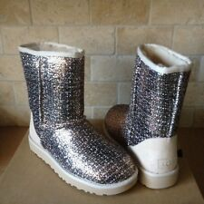 UGG Frill Bronze Metallic Tweed Classic Short Boots Size US 12 Womens NIB
