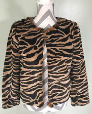 BANANA REPUBLIC Womens Faux Cat Fur Tiger Shrug Coat Jacket Size  S  Small EUC