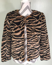 BANANA REPUBLIC Womens Faux Cat Fur Tiger Shrug Coat Jacket Size  S EUC