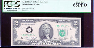 1976 $2 Federal Reserve STAR Note San Francisco #L00056895* PCGS 65PPQ