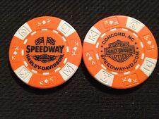 "Harley Davidson Poker Chip (Orange & White) ""Speedway"" Concord NC HOME OF NASCAR"