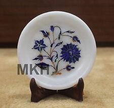 Marble Round Serving Dish Plate Marquetry Inlay Work Kitchen Decor Antique Art