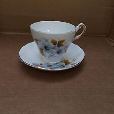 Regency Bone China Cup & Saucer – Made in England – Blue Floral