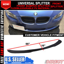 For Universal Front Bumper Lip Spoiler Unpainted Black PU Poly Urethane 66x16 In